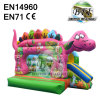 Pink Inflatable Dinosaur Bouncy Castle With Small Slide