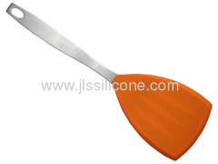 Triangle shaped and stainless steel handled silicone spatula