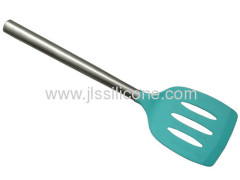 square and slotted silicone spatula head with stainless steel handle