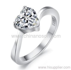 Wedding diamond ring with CZ heart