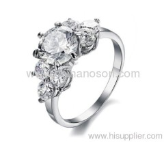 Alloy ring with CZ diamond inlay