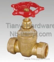 Red Color Handle Horizontal Manual Brass Two General Formula Gate Valve