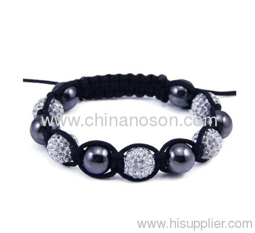 Latest White Black Shamballa bracelets with 5 Clay Crystal Beads 10 MM