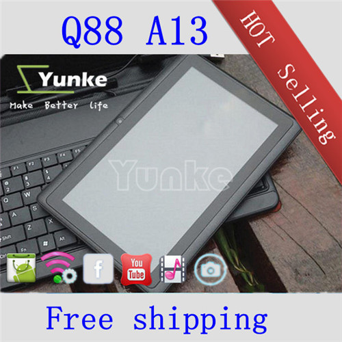 7 inch mid a13 tablet pc mid q88 wifi 4GB flash dual camera front