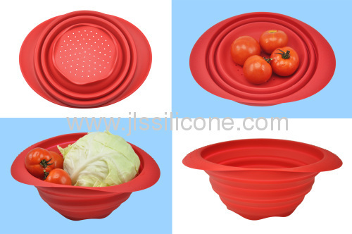 silicone collapsible bowl with holes on bottom