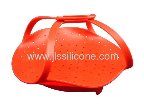 Hot red silicone steamer or bowl
