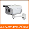 H.264 1.0MP 1/4'' Progressive Scan CMOS 1*High Power Array LED IR View 20-25m Outdoor IP Camera