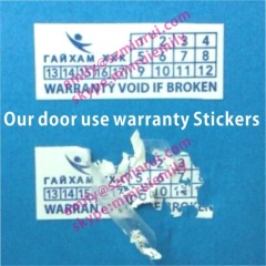 Outdoor Use Warranty Stickers With Date and Logo