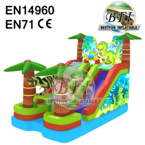 Kids Dino King World Inflatable Dinosaur Slide
