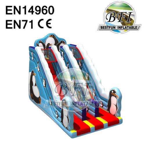 Blue Inflatable Penguin Slide