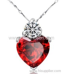 Large Ruby Heart CZ Pendant Necklace