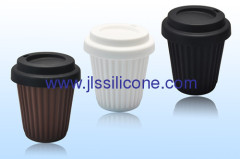 fashion designed Silicone coffee cup with lid
