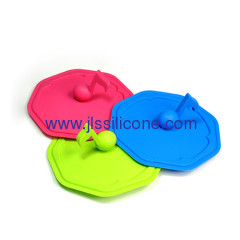 heat resistant silicone cup lid with note shaped handle