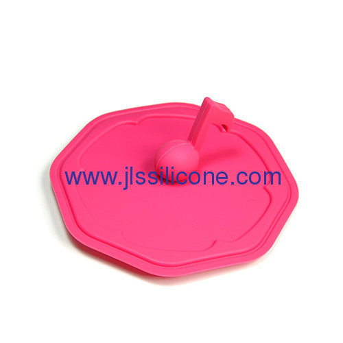 kitchen tools heat resistant silicone cup lid with note shaped handle