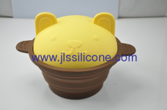 Food contact silicone bowl pot with lid