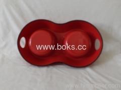 Double Plastic Pet Dog Bowl