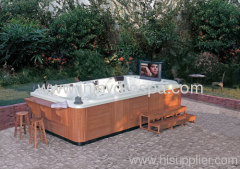 Outdoor hot tub for holding a big party