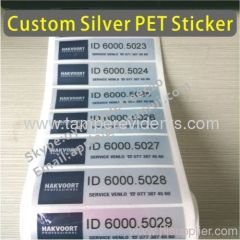 Waterproof Silver Foil Labels With Serial Numbers