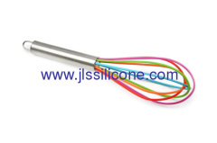 Rainbow series silicon egg whisks for kitchenware
