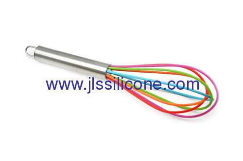Rainbow series silicon egg whisks for kitchenware