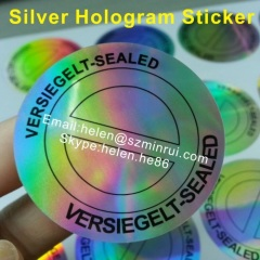 round silver hologram tamper proof label