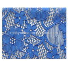 Lycra Lace / Blue embroidery lace fabric /Spandex Lace