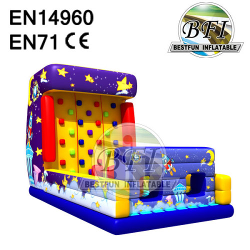 Space Ship Theme Children Inflatable Climbing Wall
