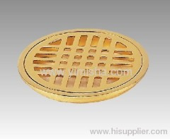 Circular Zinc Alloy Gold Plated Floor Drain with Clean Out with Outlet 96mm