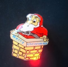 Flashing&glowing Santa Claus pin as Christmas decoration