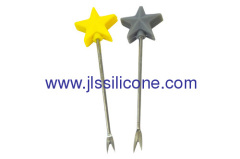 Star style silicone snack and fruit fork