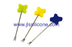 Cross style silicone desert and snack fork