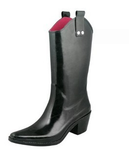 Shiny solid ladies cowboy rubber rain boots