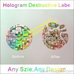 Hologram Ultra Destructible Vinyl Labels for Property Protection