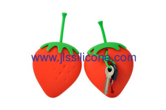 Strawberry style silicone key wallet case