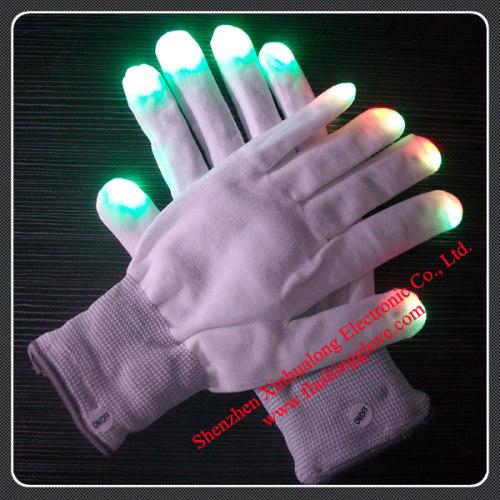 2012 NEW colorful flashing gloves LED gloves with rave light novelty light