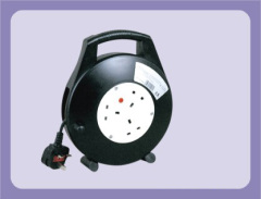 British style retractable Cord reel with 3 outlet Sockets 20m