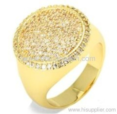 14K gold Micro zirconia stones rings with copper material