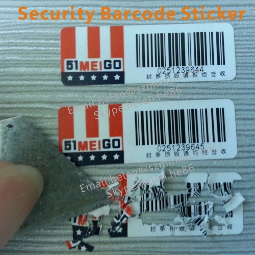 Tamper Proof Security Barcode Stickers In Roll One Time