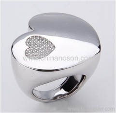 CZ stones heart shaped alloy jewellery ring