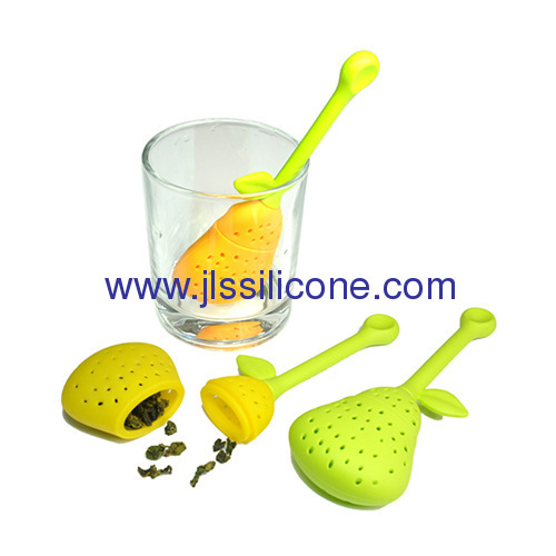 Heat resistant tea infuser and strainer silicone rubber tea bag in Pear style