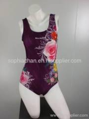 One Piece Flower Pattern Sports Swimwear