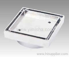 Square Brass Chrome Strainer Floor Drain for Tile