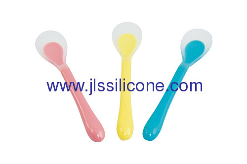 safe and anti-bacterial silicone baby feeding spoon