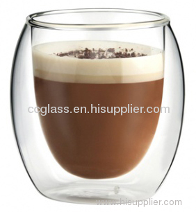 heat resistant highly transparent double wall glass coffee cup for