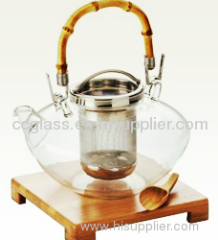 Wholesales Insulated Mouth Blown Glass Teapot Coffee Pot
