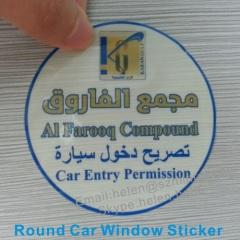 high security transparent car entry permission sticker