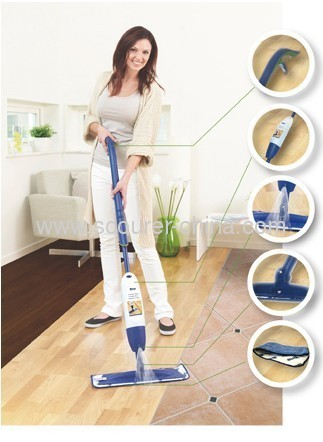 Extensible plastic spray flat mop with Aluminum Pole