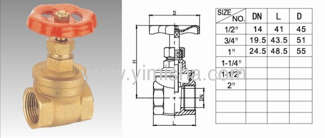 HorizontalBrass Red Color Handle Two General Formula Gate Valve