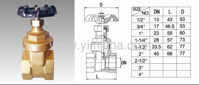 Horizontal Manual Brass Two General Formula Gate Valve for Flooding Water