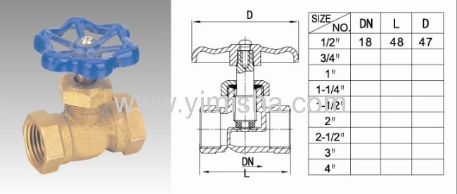 Horizontal Manual Brass Blue Color Handle Bi-directional Stop Valve